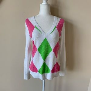 Lilly Pulitzer argyle plaid sweater #4037